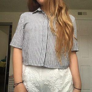 PacSun LA Hearts Boxy Cropped Button Down Shirt